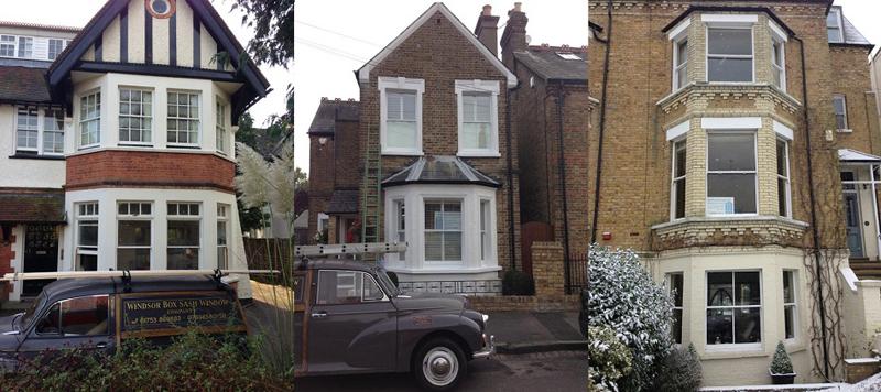 Images of exterior of house winndow refubished bt windsor baox sash windows